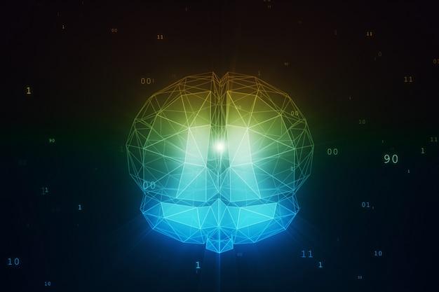 Cyfrowy mózg sztucznej inteligencji w chmurze danych binarnych