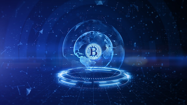 Cyfrowy projekt bitcoin z niebieskim tłem
