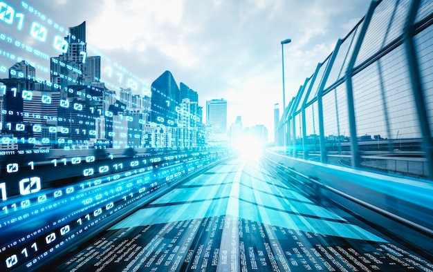 Cyfrowy przepływ danych na drodze z rozmyciem ruchu, aby stworzyć wizję szybkiego transferu