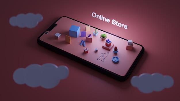 Cyfrowy sklep internetowy, widok izometryczny smartfona z góry