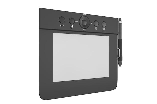 Cyfrowy tablet graficzny z piórem na białym tle