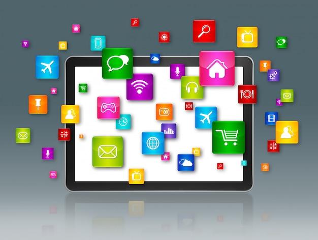 Cyfrowy tablet i latające ikony aplikacji