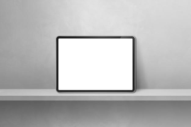 Cyfrowy tablet pc na szarej półce ściennej. baner poziomy tła. ilustracja 3d