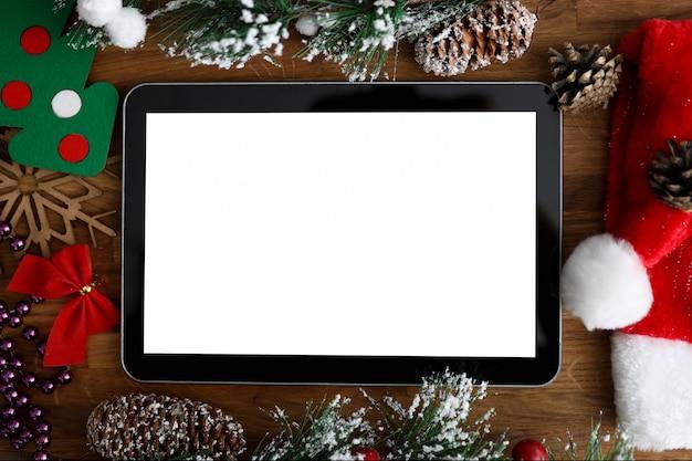 Cyfrowy tablet pc z pustym ekranem boże narodzenie