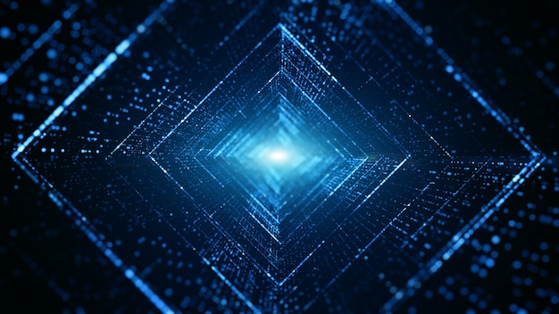 Cyfrowy tunel cyberprzestrzeni z cząsteczkami i oświetleniem
