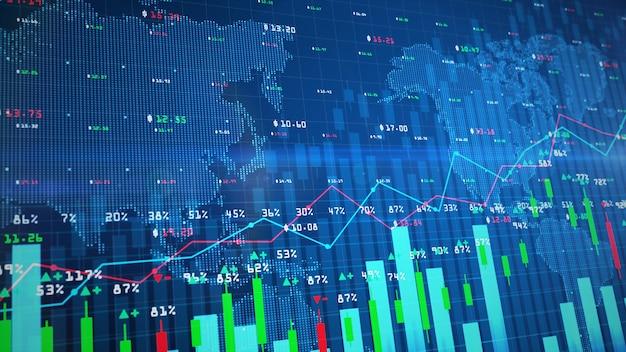 Cyfrowy wykres giełdowy lub wykres handlu forex i wykres świecowy odpowiedni do inwestycji finansowych