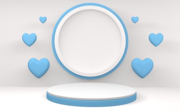 Cyjan niebieski podium valentine na białym tle. renderowanie 3d