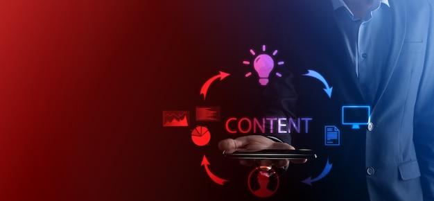Cykl content marketingu tworzenie publikacji dystrybuujących treści do grupy docelowej online i analizy