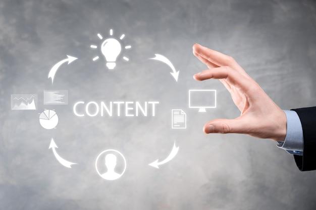 Cykl content marketingu - tworzenie, publikowanie, dystrybucja treści dla grupy docelowej w internecie oraz analiza.