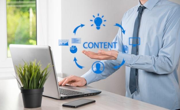 Cykl content marketingu – tworzenie, publikowanie, dystrybucja treści do grupy docelowej w internecie oraz analiza.