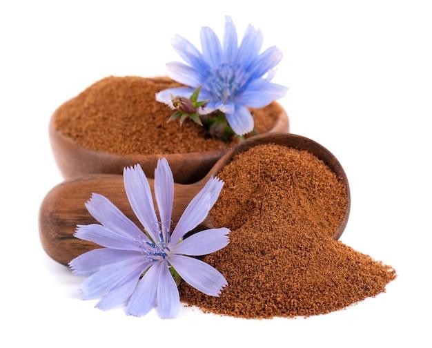 Cykoria w proszku i kwiat w drewnianej misce i łyżce, na białym tle. cichorium intybus.
