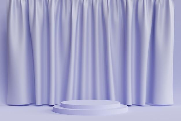Cylinder podium lub cokół dla produktów lub reklamy na neutralnym niebieskim tle z zasłonami, minimalne renderowanie ilustracji 3d