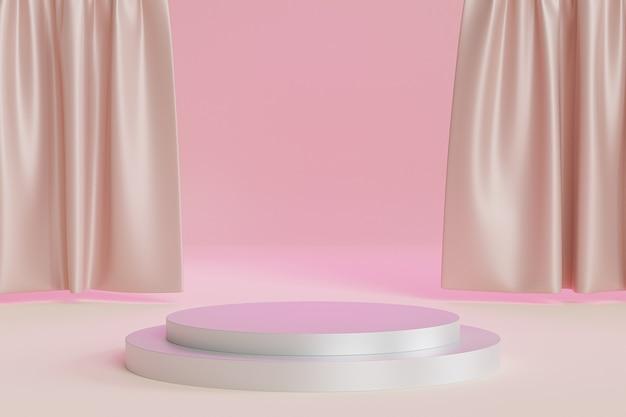 Cylindryczne podium lub cokół dla produktów lub reklamy na tle błyszczących beżowych zasłon, minimalne renderowanie ilustracji 3d