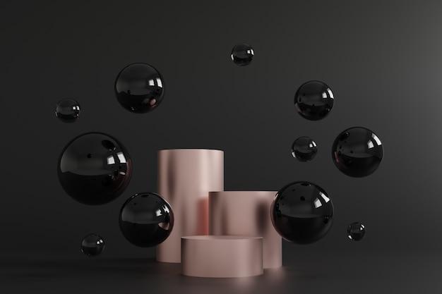 Cylindryczne podium różowe złoto i czarne bąbelki na czarnym tle