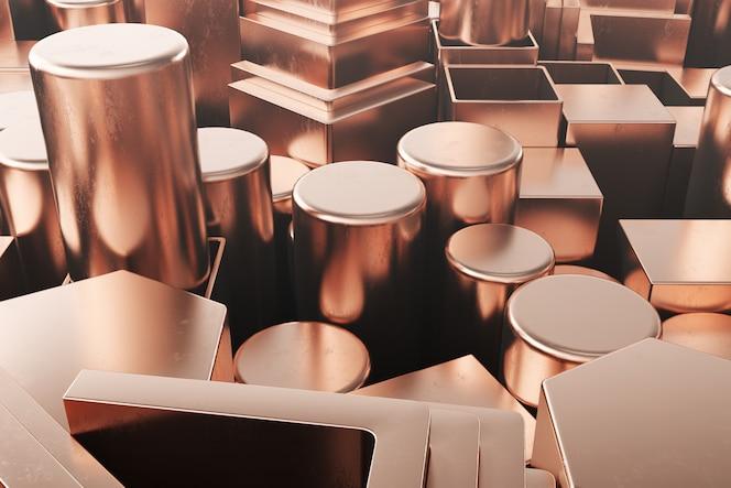 Cylindryczne profile stalowe miedziane, sześciokątne profile stalowe miedziane, kwadratowe profile stalowe miedziane. różni miedziani stalowi produkty, 3d ilustracja