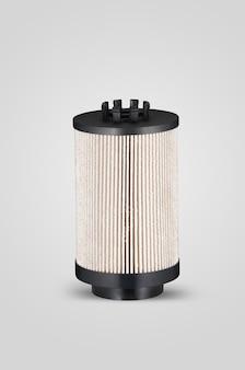Cylindryczny kształt filtra samochodowego na białym tle