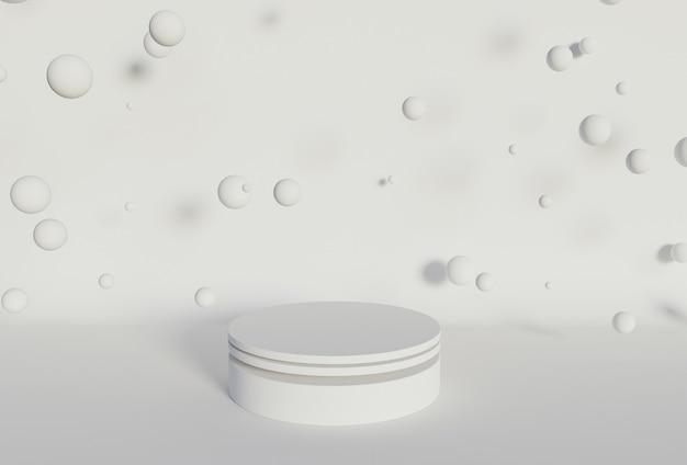 Cylindryczny stojak na produkty z kulkami unoszącymi się na białym tle. renderowanie 3d