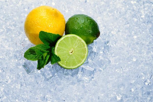 Cytryna, limonka i mięta na lodzie.