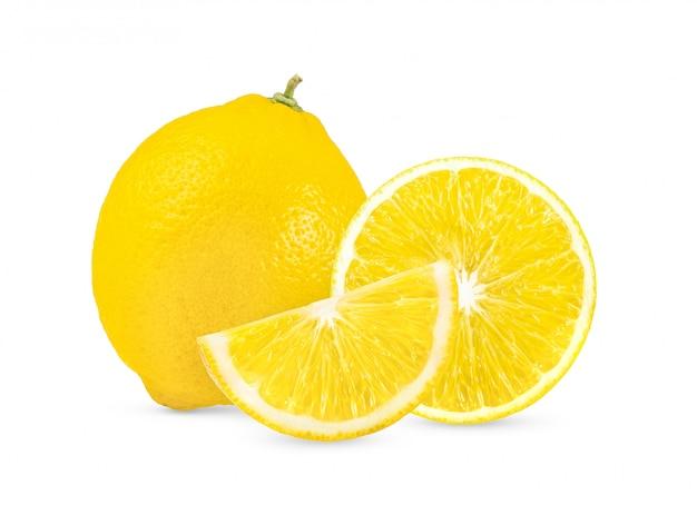 Cytryna na białym tle pełna głębia ostrości