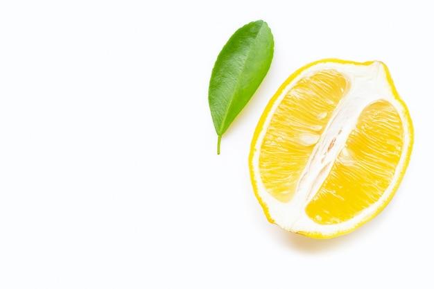 Cytryna odizolowywająca na białym tle.