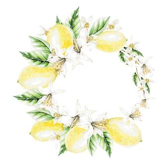 Cytryny, kwiaty i liście, wieniec akwarela. owoce. ilustracja