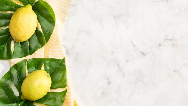Cytryny z kopii przestrzeni tłem