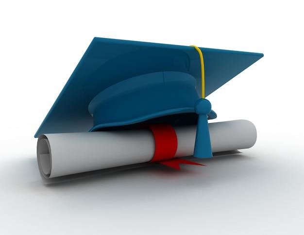 Czapka ukończenia szkoły z dyplomem.ilustracja 3d