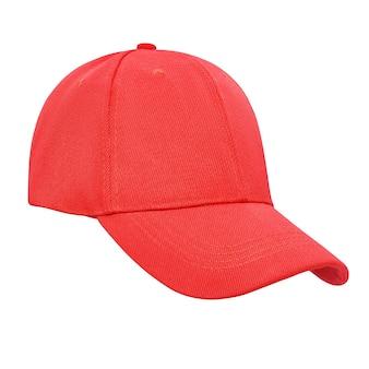 Czapka z daszkiem czerwony na białym tle na białym tle ze ścieżką przycinającą