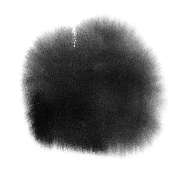 Czarna akwarelowa próbka czarnej farby akwarelowej z praniem, pociągnięciem pędzla