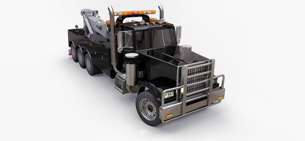 Czarna ciężarówka holownicza do transportu innych dużych ciężarówek lub różnych ciężkich maszyn. renderowania 3d.