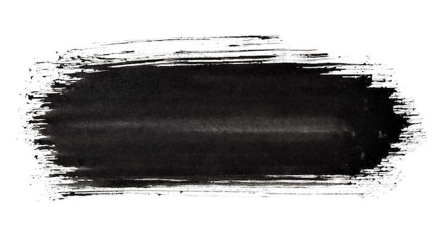 Czarna farba z paskiem. zbliżenie pociągnięcia pędzla. streszczenie tło grunge. miejsce na własny tekst. ilustracja rastrowa
