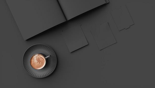 Czarna filiżanka kawy obok czarnej tablicy, 3d ilustracji