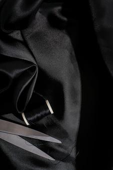 Czarna jedwabniczej tkaniny tła tekstura