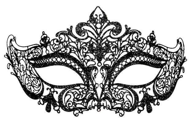 Czarna karnawałowa maska na białym tle