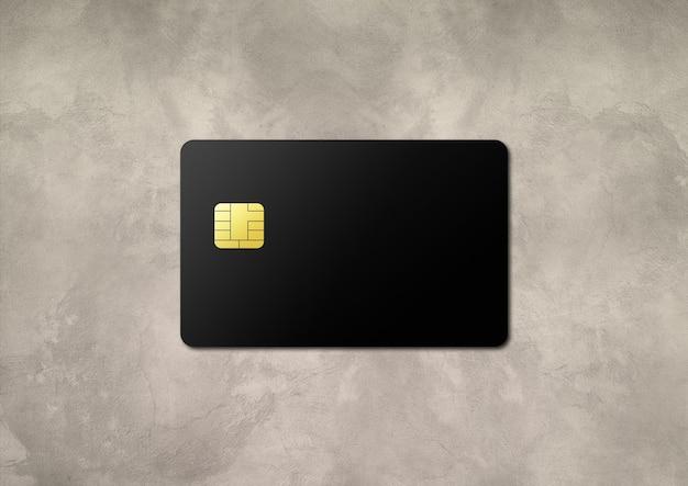 Czarna karta kredytowa na ilustracji 3d betonowym stole