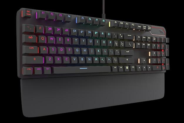 Czarna klawiatura komputerowa z kolorem rgb na czarnym tle ze ścieżką przycinającą