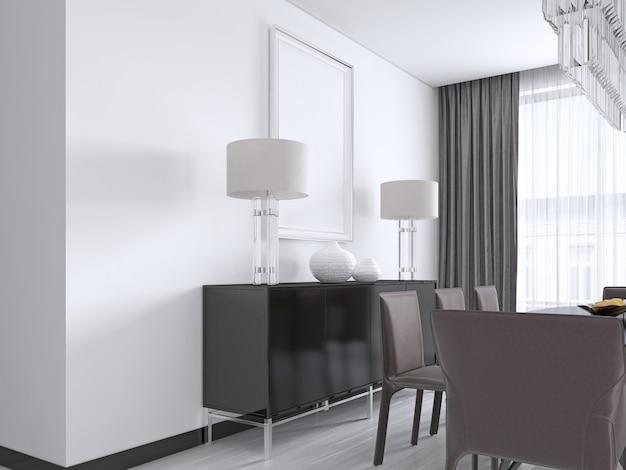 Czarna komoda z metalowymi nogami z lampkami nocnymi, wazonami i zdjęciem powyżej, plakat mocap. renderowania 3d