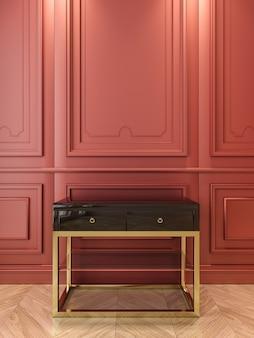 Czarna konsola ze złotem w klasycznym czerwonym wnętrzu. ilustracja renderowania 3d.