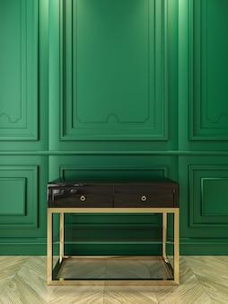 Czarna konsola ze złotem w klasycznym zielonym wnętrzu. ilustracja renderowania 3d.
