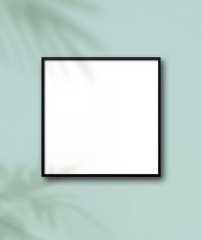 Czarna kwadratowa ramka na zdjęcia wisząca na jasnoniebieskiej ścianie kwiatowe cienie