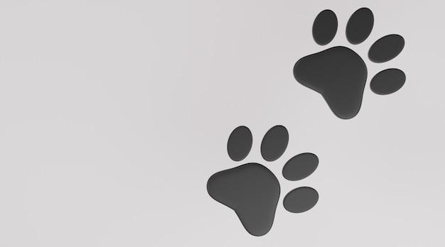 Czarna łapa na białym tle. wydruk łapy psa lub kota