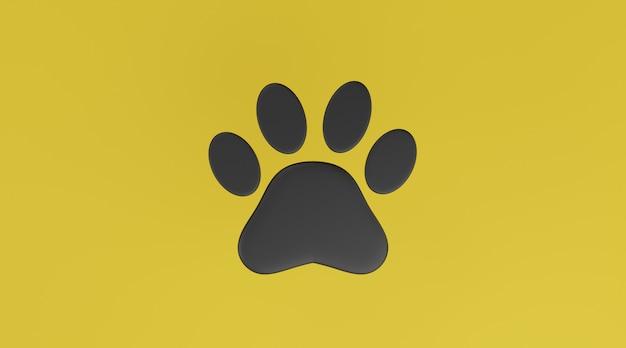 Czarna łapa na żółtym tle. wydruk łapy psa lub kota