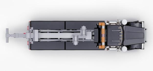 Czarna laweta do transportu innych dużych ciężarówek lub różnych ciężkich maszyn. renderowanie 3d.