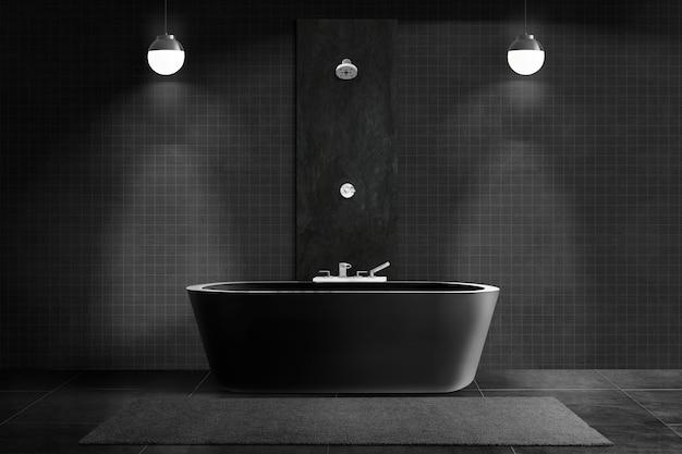 Czarna luksusowa łazienka autentyczny wystrój wnętrz