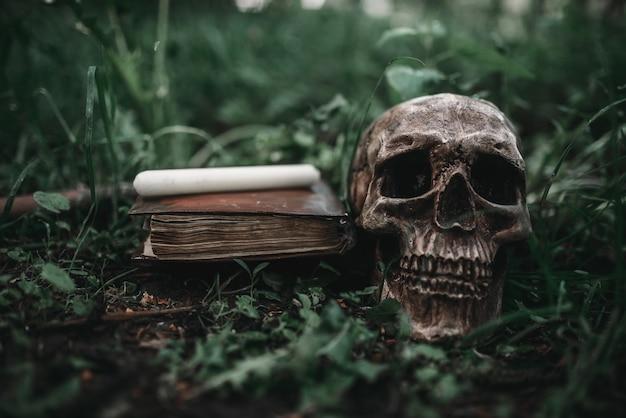 Czarna magiczna książka z okultystycznymi symbolami i czaszką