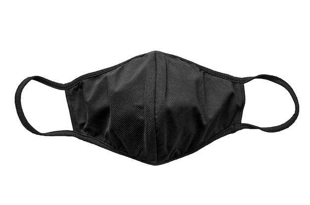 Czarna maska ochronna z tkaniny na białym tle