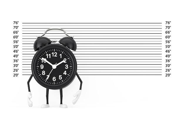 Czarna maskotka znaków budzika przed spisem policji lub ekstremalnym zbliżeniem tła mugshot. renderowanie 3d