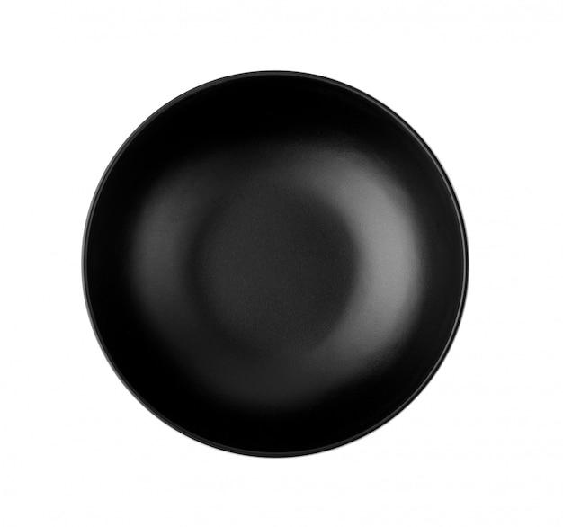 Czarna miska na białym tle