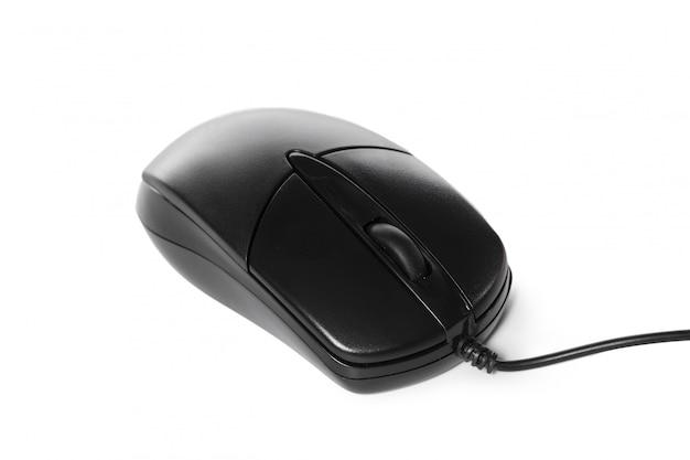 Czarna mysz komputerowa na białym tle