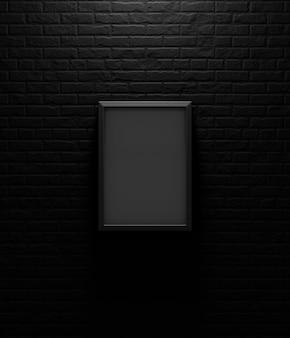 Czarna obrazek rama na ciemnym ściana z cegieł, 3d odpłaca się
